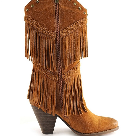 Reba Cade Tan Suede Boots Fringe